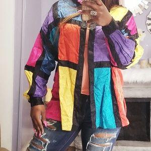 80s vintage blouse multicolor size M boho